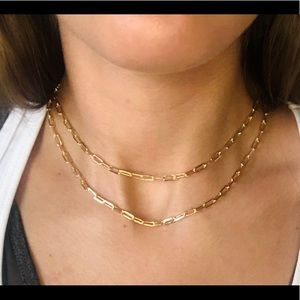Paper clip gold filled necklace